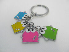 4 PIECE DIAMONTE MULTI COLOURED FROGS ENAMEL METAL KEYRING GIFT CHARM UK SELLER