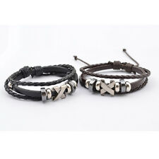 GA Hot Sale Jewelry Knitted Leather Mens Titanium Steel Bracelets Bangles