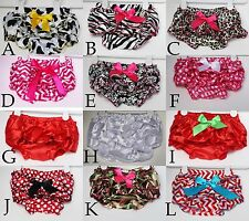 Baby Girl Infant diaper cover satin ruffle bloomers for 0-3, 3-9, 9-24 months