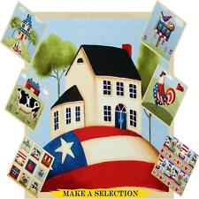 PATRIOTIC  CAT COW ROOSTER CHICKEN BIRD BARN FABRIC & PANELS  (MAKE A SELECTION)