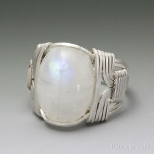 Rainbow Moonstone Sterling Silver Wire Wrap Gemstone Cabochon Ring - Ships Fast!