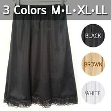Lace Nylon Half Slip Petticoat Pettipant Culotte Skirt White Brown Black M L XL
