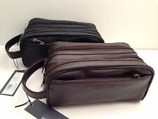 KENNETH COLE REACTION Men's Black Brown Dual-Compartment Toiletry/ Shaving Bag