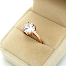 Classic 18K Rose Gold Plated Top Round CZ Stone Wedding Rings for women