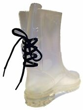 Clear Rain Boots Lace Up Back Mid-Calf Tall Flat Transparent Waterproof Shoes