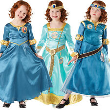 New Merida Brave Costume & Wig Girls Disney Princess Kids Fancy Dress Up Outfit