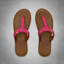 NWT Womens Abercrombie & Fitch Brown & Pink Leather Sandals Flip Flops - S