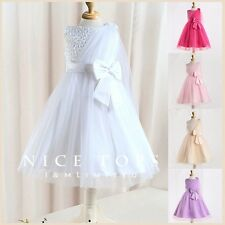 W8910 White Wedding Bridesmaid Flower Girls Party Dresses Age 2 3 4 5 6 7 8 9 10
