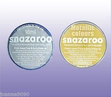 PROFESSIONAL SNAZAROO FACE PAINT MAKE UP METALLIC GOLD SILVER 18ML FACEPAINT