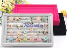 Suede Jewelry Earrings Rings Display Organizer Box Tray Holder Case Storage Gift