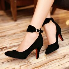 Womens Elegant  Ankle Strap Mary Jane Dressy Point Toes Stiletto Shoes Plus Size