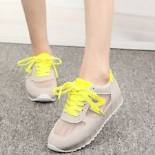 Womens Candy Lace Up Tennis Mesh Shoes Flats Athletic Comfortable Sneakers Size