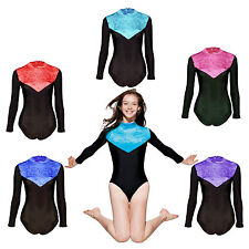 Gymnastics Leotard Velvet Lycra Long Sleeves Womens Girls Gym Dance Leotards
