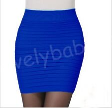 15Color Women Sexy High Waist Pleated Skinny Candy Colors Mini Bandage Hip Skirt