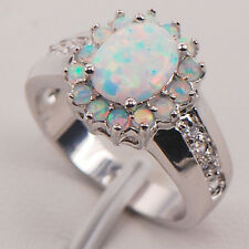 White Fire Opal 925 Sterling Silver Gemstone Jewelry Ring Size 6 7 8 9 10 11