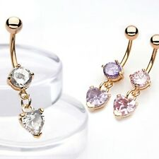 Gold Plated Prong Set CZ Belly Bar / Navel Ring With Dangle cz Heart