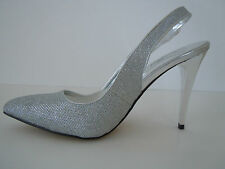 NEW Silver Runway Chic Pump, Slingback, High Heels