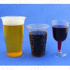 CHOOSE: 108 Pint Or Half Pint Glasses Disposable Strong Plastic Or 24 Wine Glass