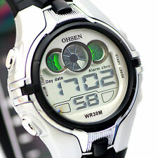 OHSEN 0739 Mens Boys 7 Colors LED Black Silicone Silver Waterproof Sport Watch