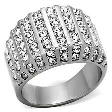 Round Cut CZ Stainless Steel Wide Band Cluster Cocktail Pave Women's ring  5-10