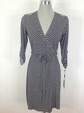 Calvin Klein NEW Black and Cream Geometrical printDress faux wrap, long sleeves