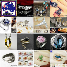 Women Rings Classic Fashion Rhinestone Ring Pink Blue Mask Silver
