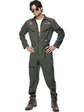 Mens Top Gun Man Costume Jumpsuit Name Tags Glasses Fancy Dress Movie Licenced