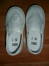 New White Slip On Gym Shoes Plimsoles Canvas Non Marking Size 7 11 12 2 M&s