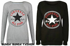 Womens Ladies New Converse Logo Print Jumper Top Sweatshirt Size S/M M/L UK8-14