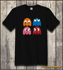 Cool Retro 80s PACMAN GHOSTS Video Games MENS T SHIRT - C64 / Atari Console