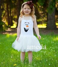 NEW Gorgeous Girls Frozen Olaf White Tutu Fairy Dream Party Dress Costume 1-6Y