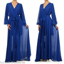 BLUE FULL SWEEP Chiffon MAXI DRESS Wrap SHEER Gown CRUISE Long Skirt PARTY vtg