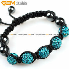 """10mm Pave Beads Rhinestone Disco Balls Hand-woven Bracelet7-8"""" with Gift Box"""