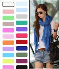 New Womens Girls Soft Crinkle Long Pure Candy Scarf Wrap Shawl Stole 19 Colors