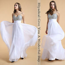 Gorgeous Bridesmaids Chiffon Beading V-neck Prom Ball Gown Formal Evening Dress