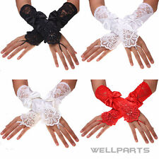 Bride Wedding Gloves Fingerless Lace Embroidered Strong Satin Bow Gloves