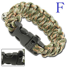 1 Whistle Parachute Chute Cord Rope Military Survival Bracelet Wristband 6-COLOR
