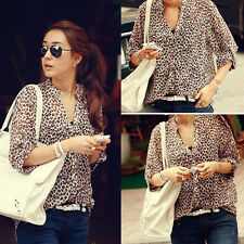 Sexy Womens Leopard Print Chiffon T Shirt Casual Tops Button Down Blouses M L XL