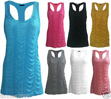 New Womens Ladies Racer Back Muscle Ribbed Stretchy Bodycon Vest Top Size 8-14UK