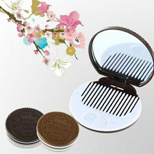 Cute Cookie Shaped Design Mirror Makeup Chocolate Comb Free Ship HOT