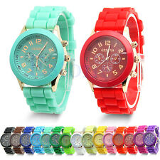 Wrist Watch New Colorful Unisex Geneva Silicone Jelly Gel Quartz Analog Sports