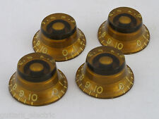 Vintage CLONE TINTED GOLD BELL Bonnet KNOBS for 1958-60 Les Paul Gibson guitars