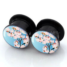 Pair Acrylic Flower Screw Flesh Tunnels Ear Plugs Expander Stretcher Earlets HOT