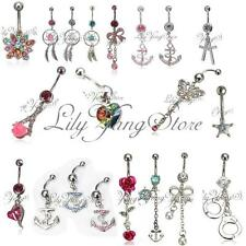 1X Dangle Belly Button Rings Crystal Rhinestone Jewelry Navel Bar Body Piercing