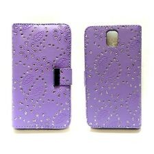 BLING GLITTER LILAC BOOK FLIP POUCH CASE FOR SAMSUNG GALAXY NOTE 3 GT-N9000