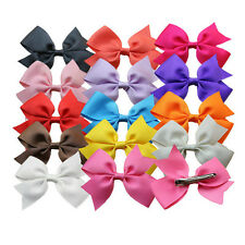 "10pcs 4"" Hair Bow Hair Clips Boutique Girls Baby Grosgrain Ribbon Mix 10 Colors"