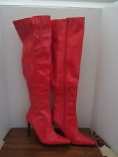 SHINY RED PVC SEXY STRIPER THIGH HIGH BOOTS DIFFERENT SIZES TO CHOOSE
