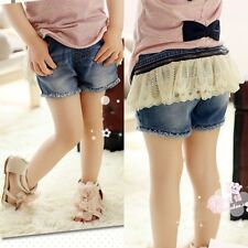 New Kids Toddlers  Girls Disassemble Lace Skirts Denim Shorts Pant P017 2-7T