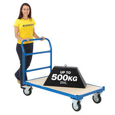 Heavy Duty Platform Truck Cart Hand Trolley Flat Bed Warehouse Picking 3 Sizes