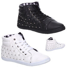 WOMENS LADIES FLAT STUDDED CHEQUE LACE UP HI TOPS TRAINERS SNEAKERS SHOES SIZE